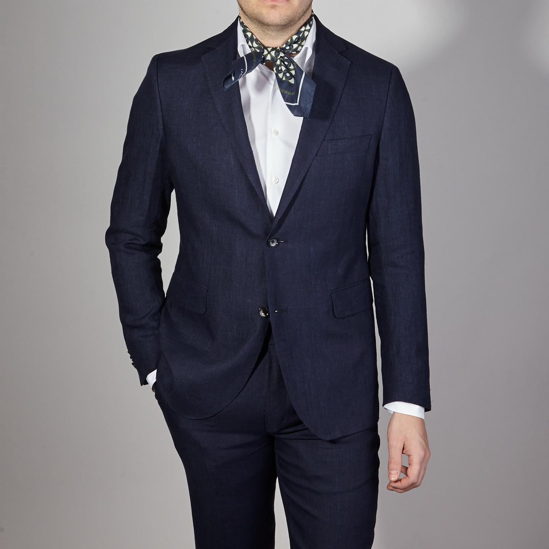 Eduard Dressler Navy Pure Linen Summer Suit Front