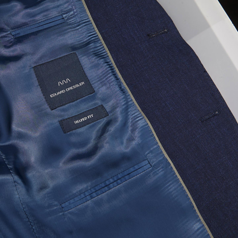 Eduard Dressler Navy Pure Linen Summer Suit Inside