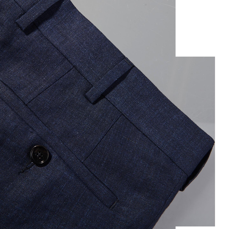 Eduard Dressler Navy Pure Linen Summer Suit Pocket