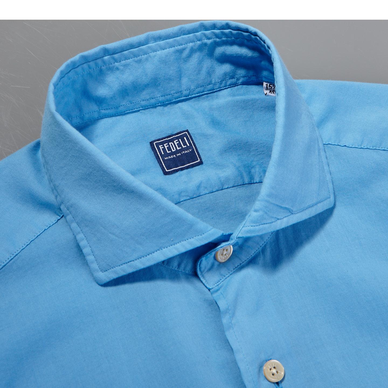 Fedeli Blue Stretch Cotton Beach Shirt Collar