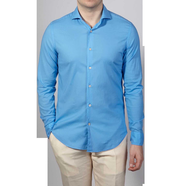 Fedeli Blue Stretch Cotton Beach Shirt Front