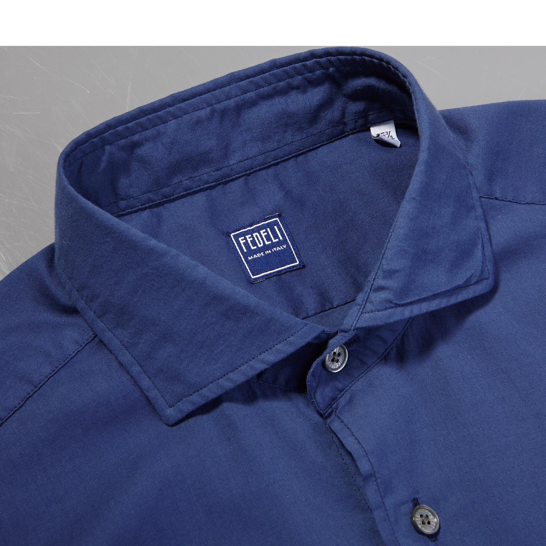 Fedeli Navy Stretch Cotton Beach Shirt Collar