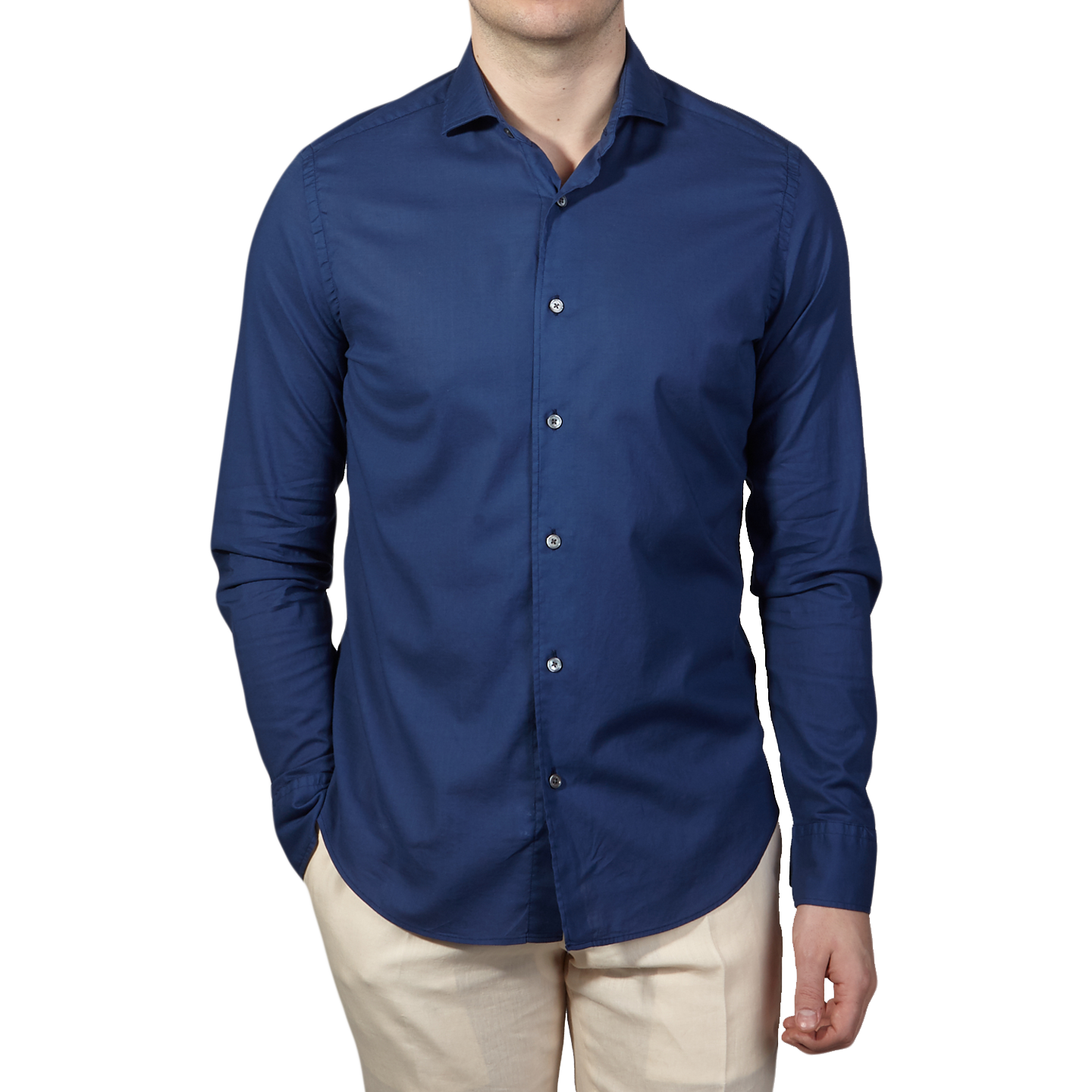 Fedeli Navy Stretch Cotton Beach Shirt Front