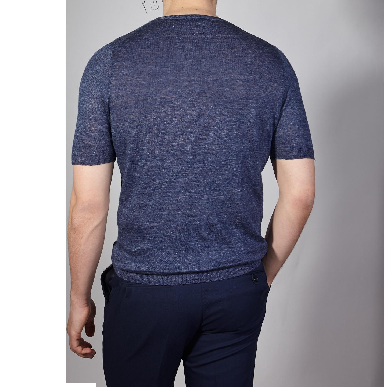 Gran Sasso Blue Linen Short Sleeve T-Shirt Back