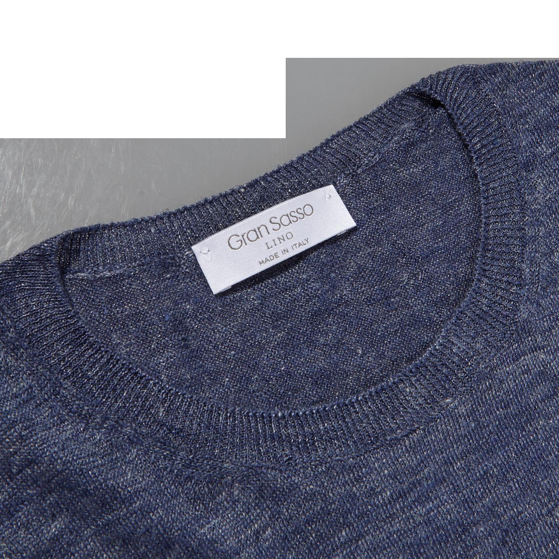 Gran Sasso Blue Linen Short Sleeve T-Shirt Collar
