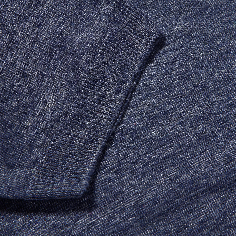 Gran Sasso Blue Linen Short Sleeve T-Shirt Cuff