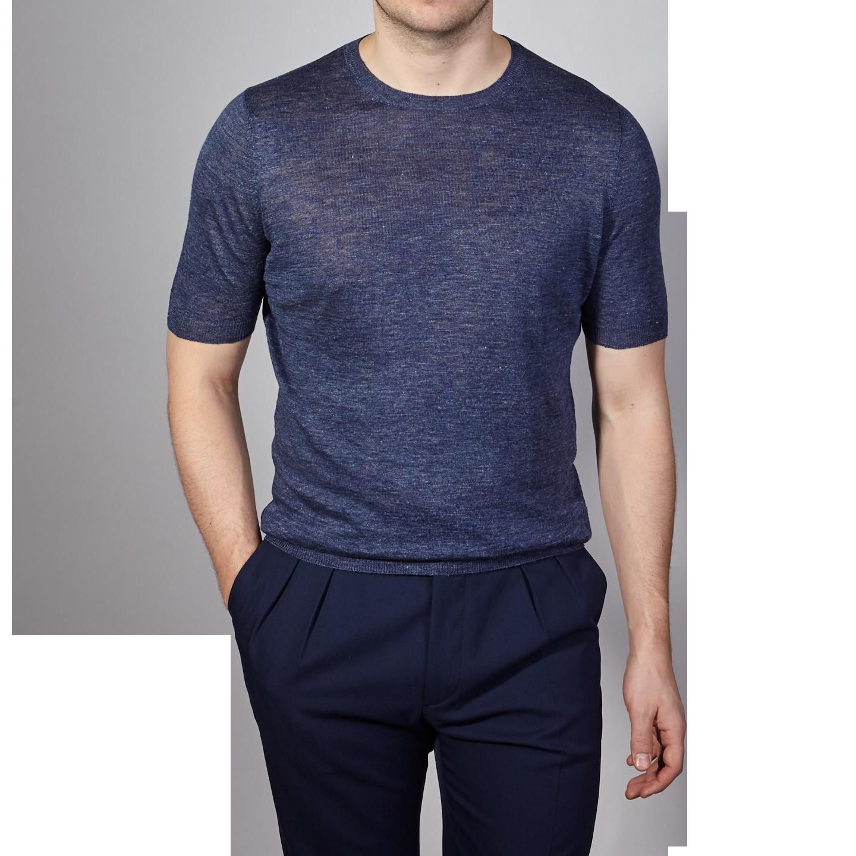 Gran Sasso Blue Linen Short Sleeve T-Shirt Front