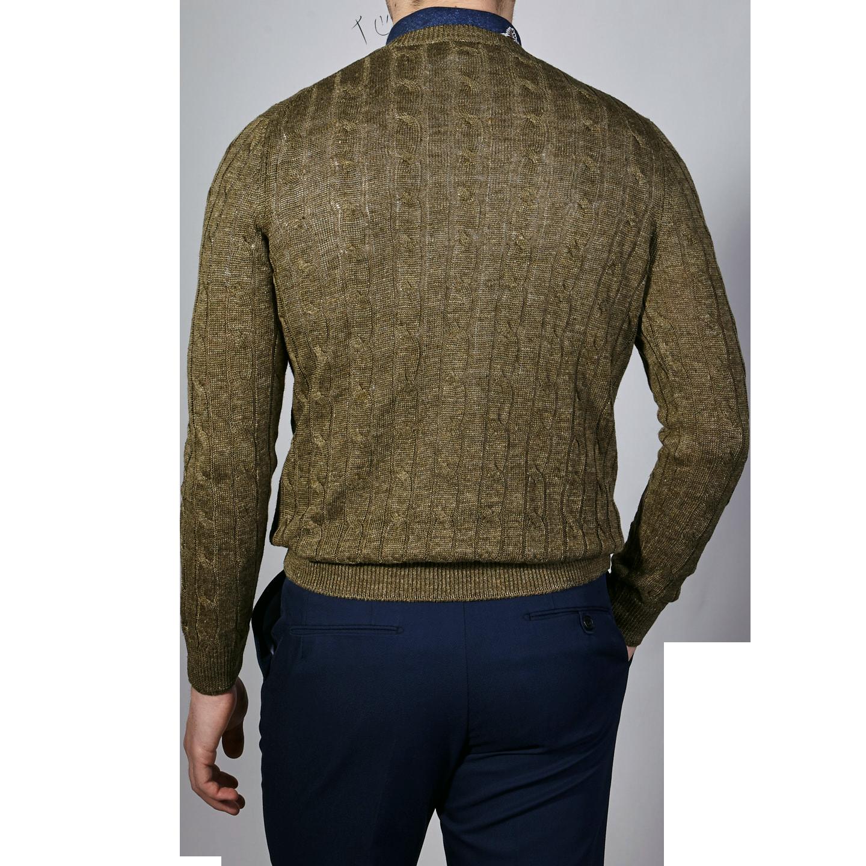 Gran Sasso Green Taupe Pure Linen Crewneck Sweater Back