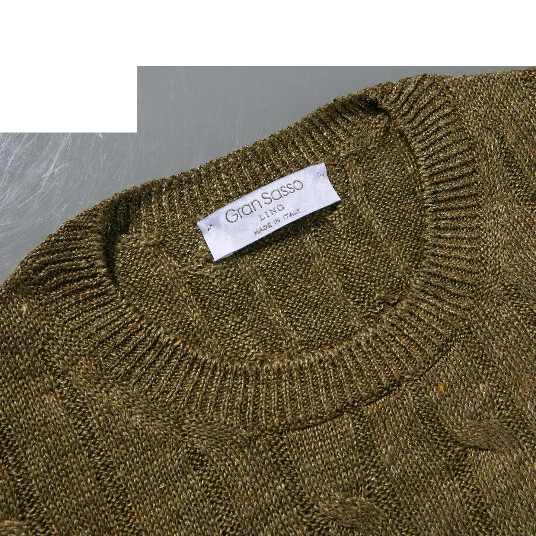 Gran Sasso Green Taupe Pure Linen Crewneck Sweater Collar