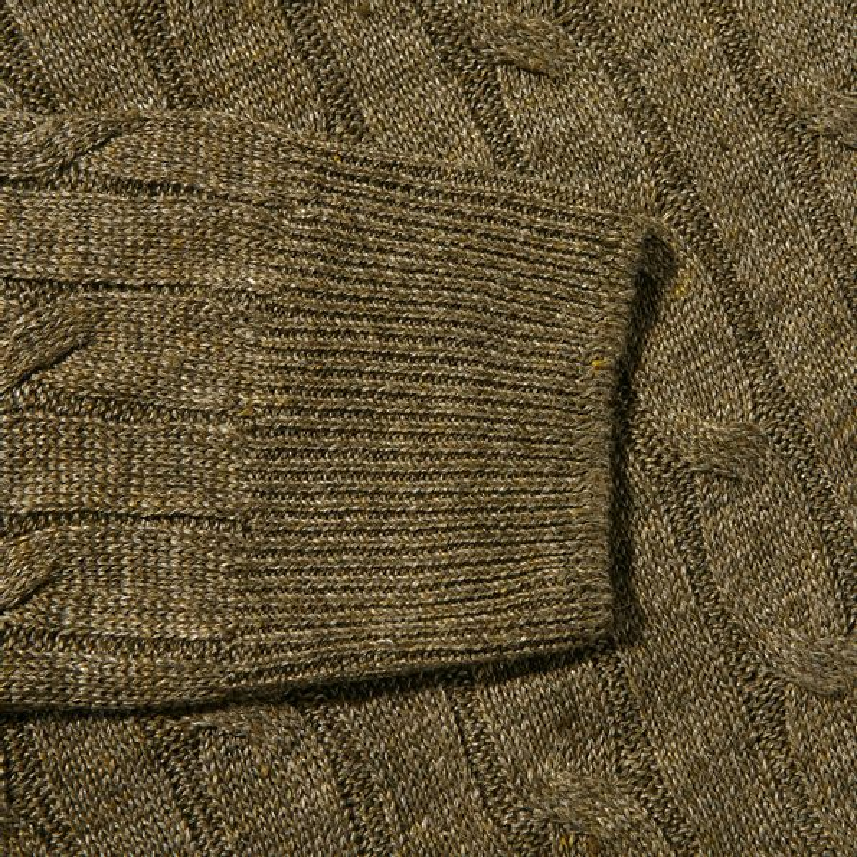 Gran Sasso Green Taupe Pure Linen Crewneck Sweater Cuff