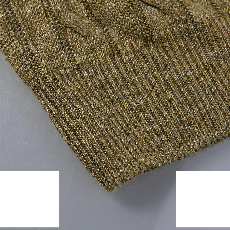 Gran Sasso Green Taupe Pure Linen Crewneck Sweater Edge
