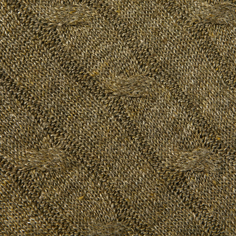 Gran Sasso Green Taupe Pure Linen Crewneck Sweater Fabric