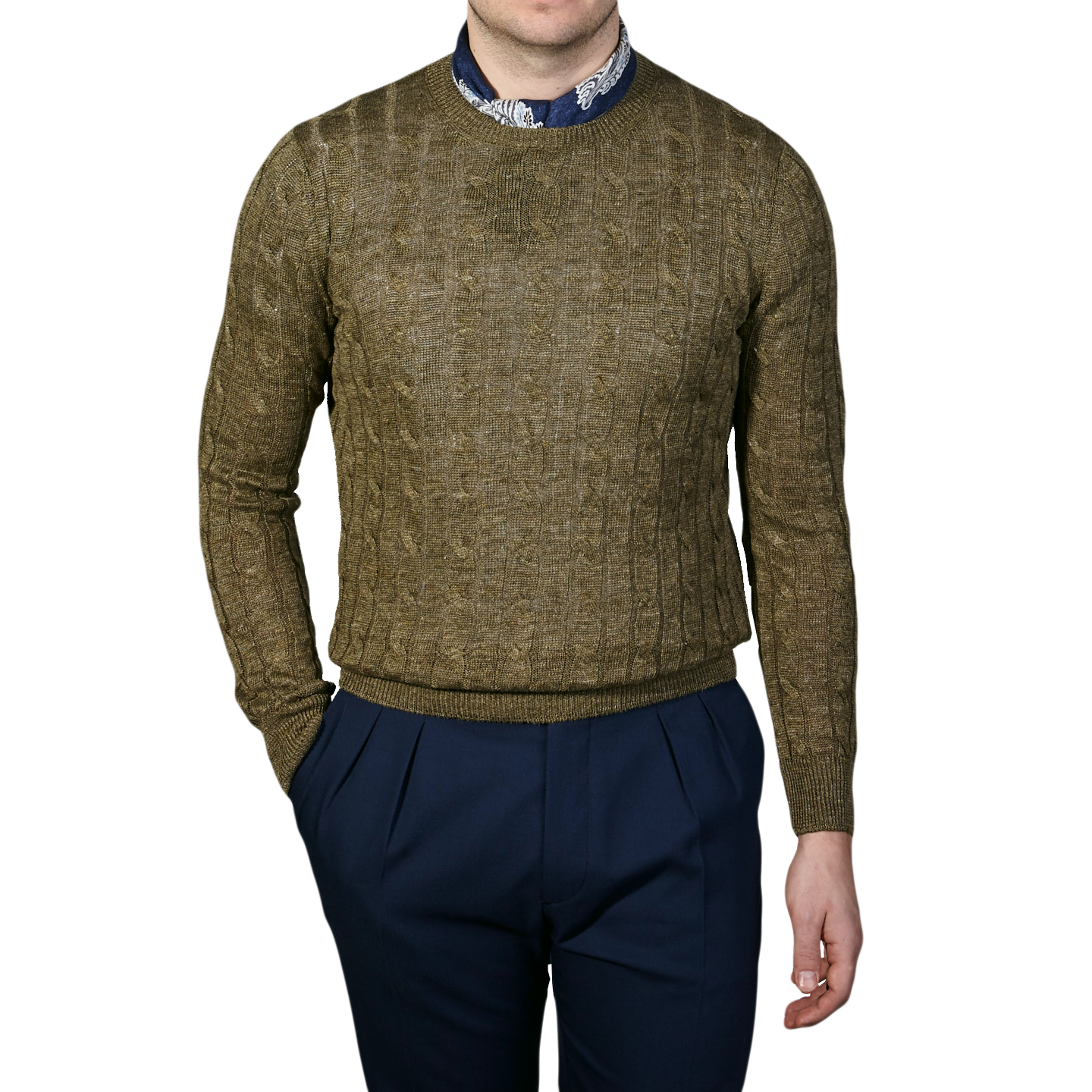 Gran Sasso Green Taupe Pure Linen Crewneck Sweater Front