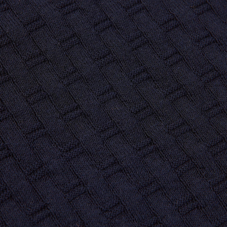 Gran Sasso Navy Waffle Texture Polo Fabric