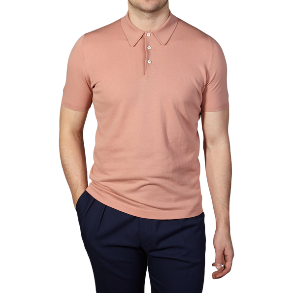 Gran Sasso Pink Pure Cotton Tennis Polo Front