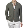 Gran Sasso Washed Green Pure Cotton Cardigan Front