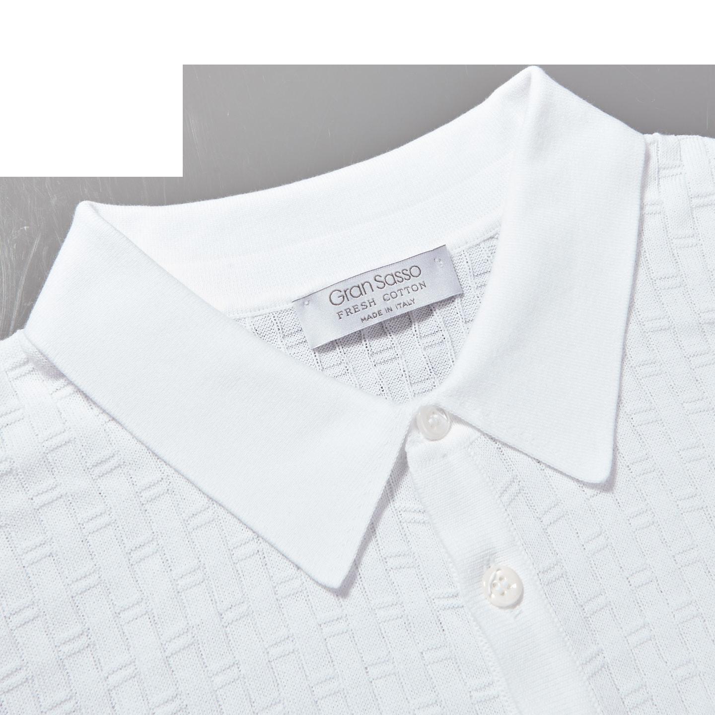 Gran Sasso White Waffle Texture Polo Collar