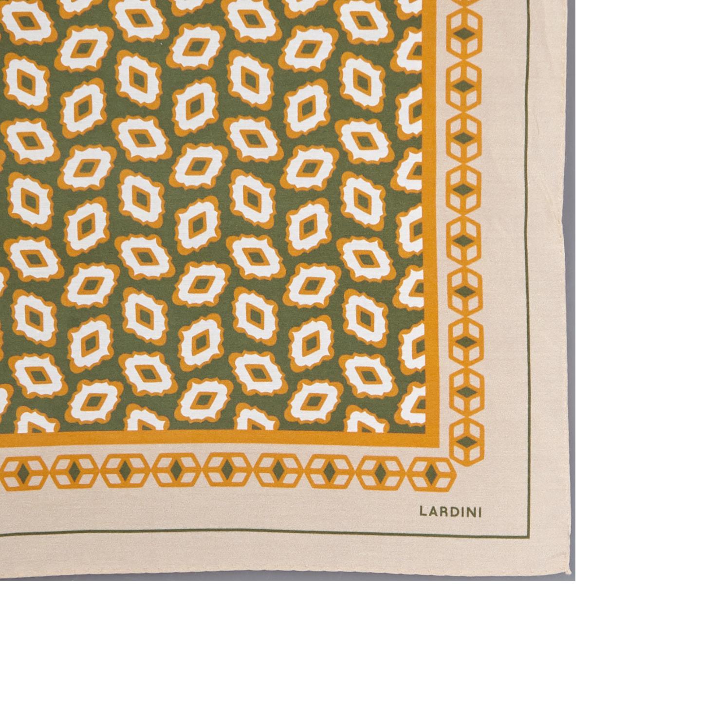 Lardini Beige Geometrical Printed Silk Cotton Bandana Edge