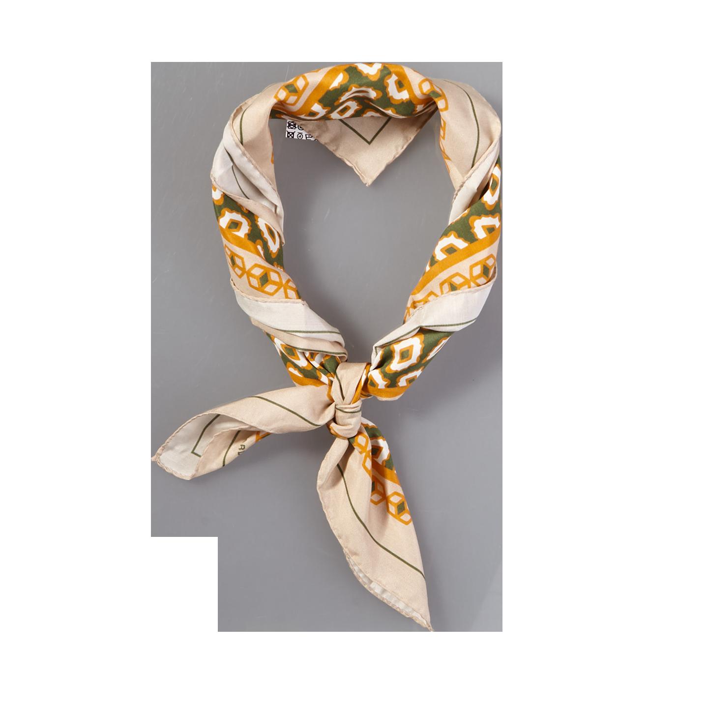 Lardini Beige Geometrical Printed Silk Cotton Bandana Feature
