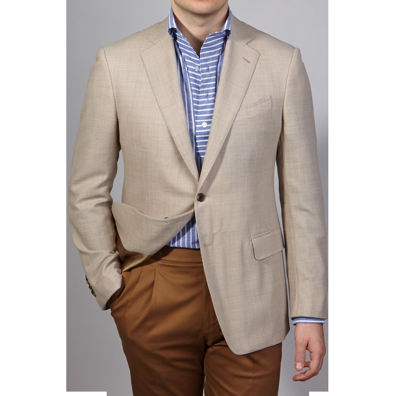Lardini Beige Hopsack Wool Jacket Front