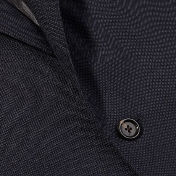 Lardini Navy Blue Birds Eye Wool Suit Closed