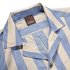 Oscar Jacobson Beige Blue Block Striped Bowling Collar Shirt Collar