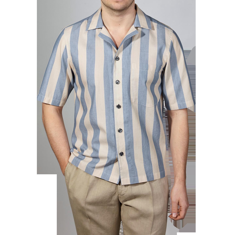 Oscar Jacobson Beige Blue Block Striped Bowling Collar Shirt Front