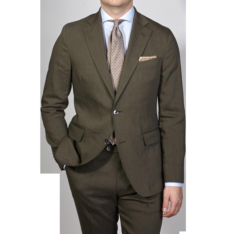 Oscar Jacobson Green Linen Wool Ferry Suit Front