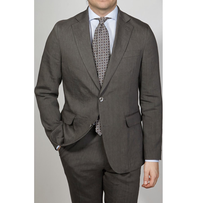 Oscar Jacobson Grey Linen Wool Ferry Suit Front