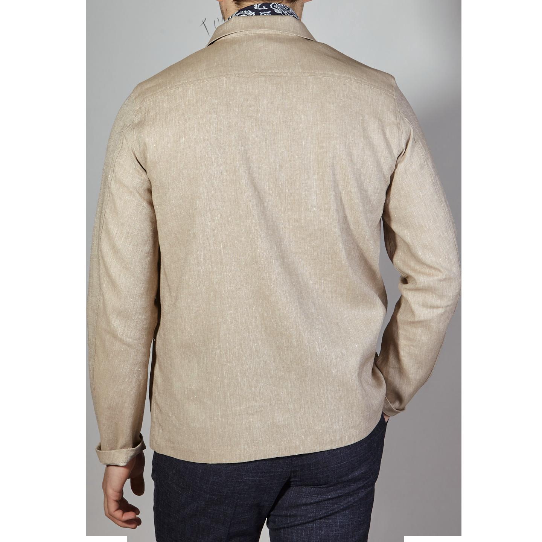 Oscar Jacobson Light Beige Cotton Linen Hampus Shirt Jacket Back