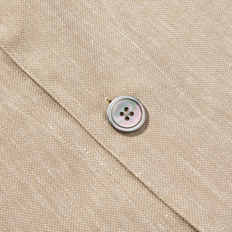 Oscar Jacobson Light Beige Cotton Linen Hampus Shirt Jacket Button