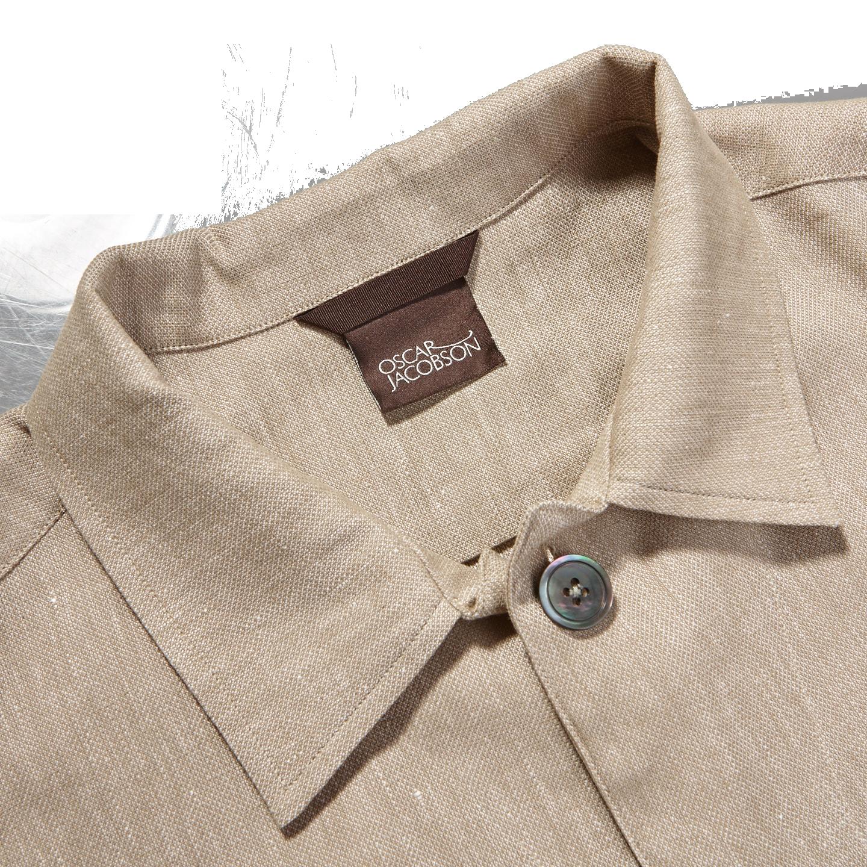 Oscar Jacobson Light Beige Cotton Linen Hampus Shirt Jacket Collar