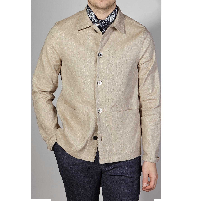 Oscar Jacobson Light Beige Cotton Linen Hampus Shirt Jacket Front