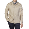 Oscar Jacobson Light Beige Cotton Linen Hampus Shirt Jacket Front