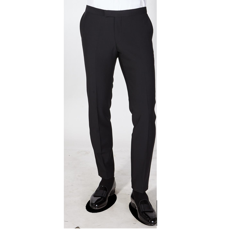 Oscar Jacobson Slim Fit Black Tuxedo Trousers Duke Front