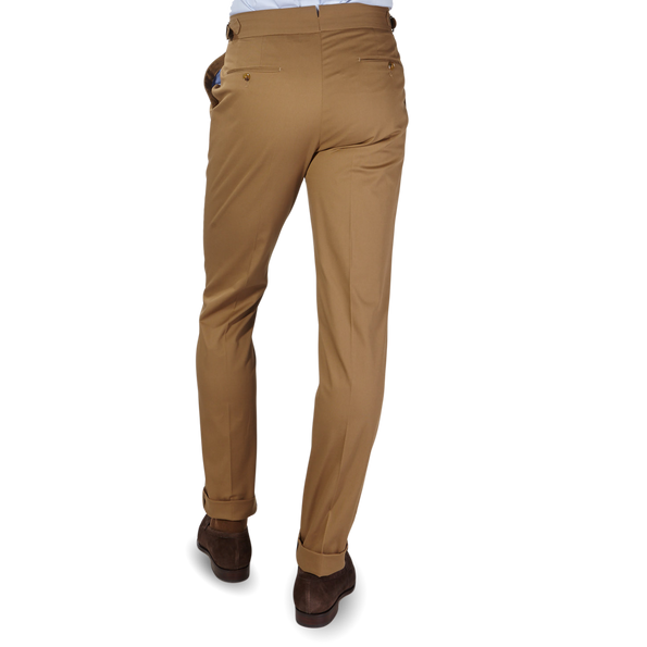 PT01 Light Brown Pleated Cotton Stretch Gentlemen Fit Trousers Back