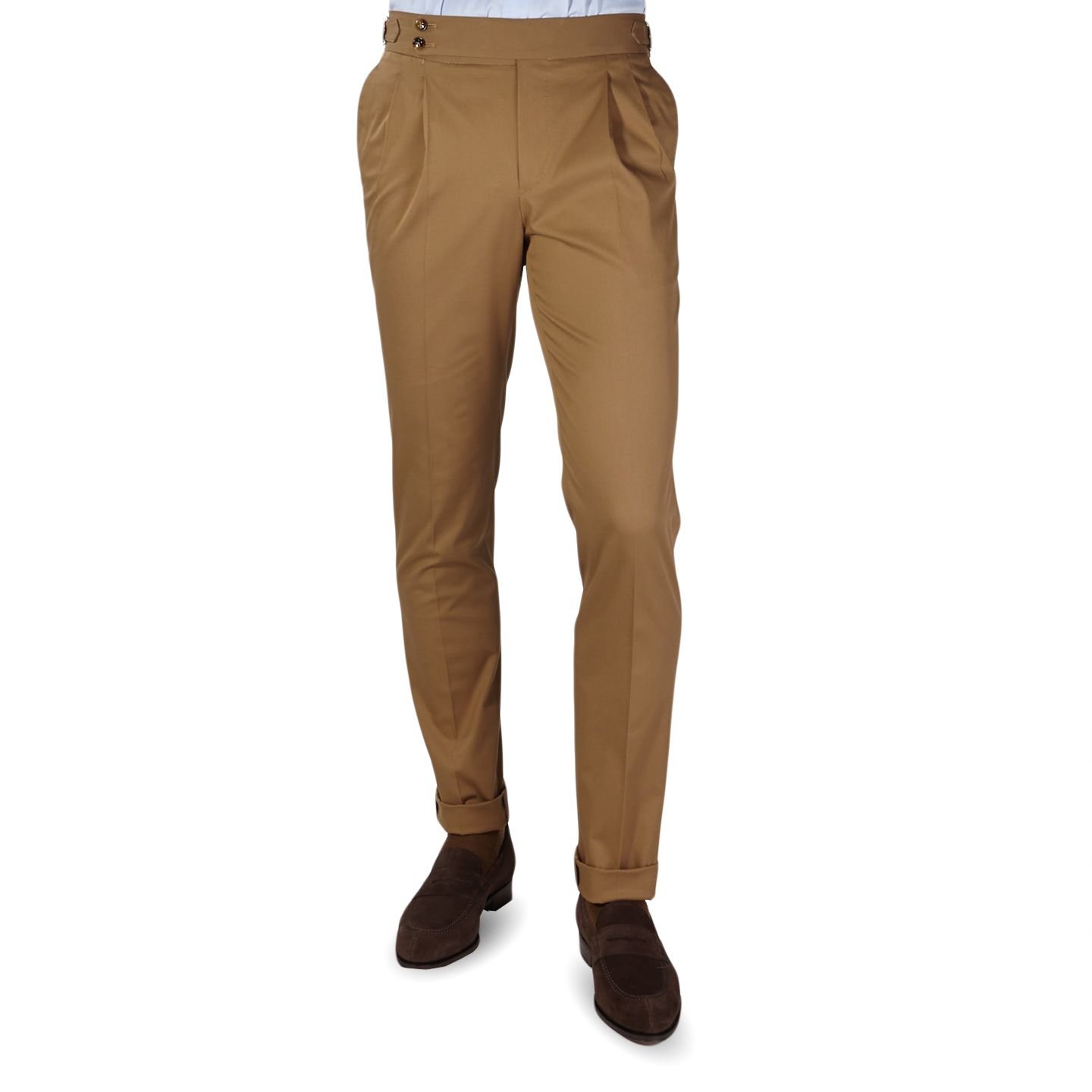 PT01 Light Brown Pleated Cotton Stretch Gentlemen Fit Trousers Front