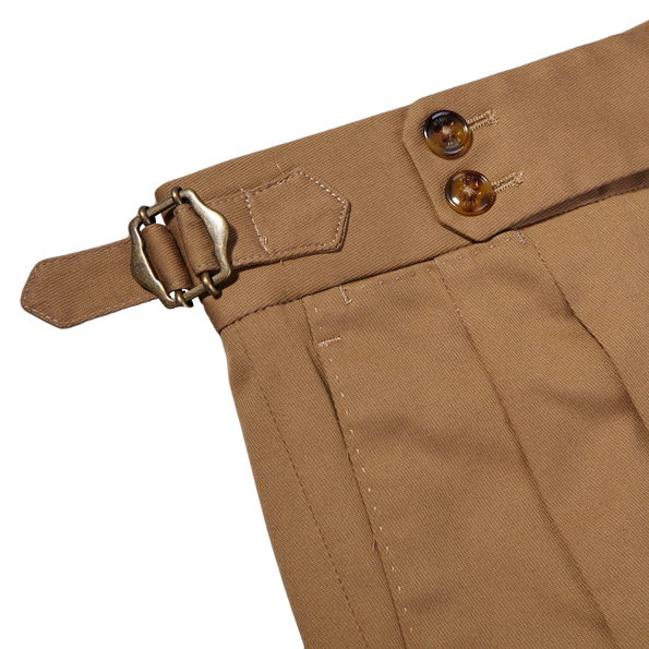 PT01 Light Brown Pleated Cotton Stretch Gentlemen Fit Trousers Pleat