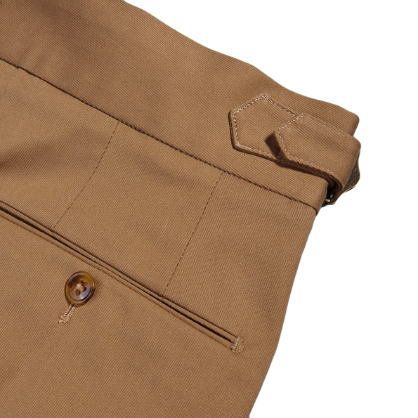 PT01 Light Brown Pleated Cotton Stretch Gentlemen Fit Trousers Pocket