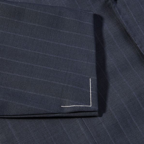 Ring Jacket Blue Pinstripe Light Weight Wool Suit Cuff