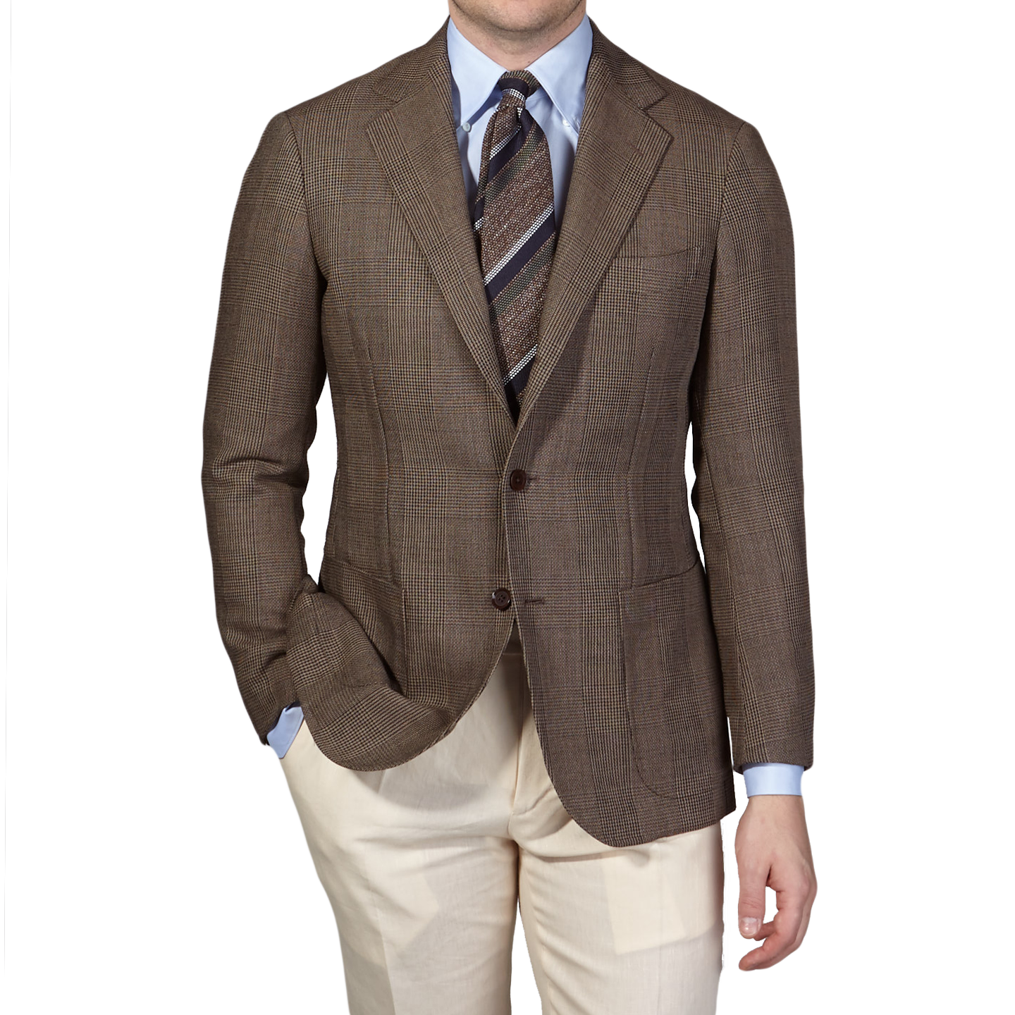 Ring Jacket Brown Slimfit Balloon Prince of Wales Check Front