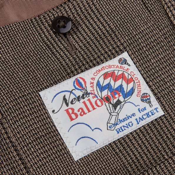 Ring Jacket Brown Slimfit Balloon Prince of Wales Check Tag