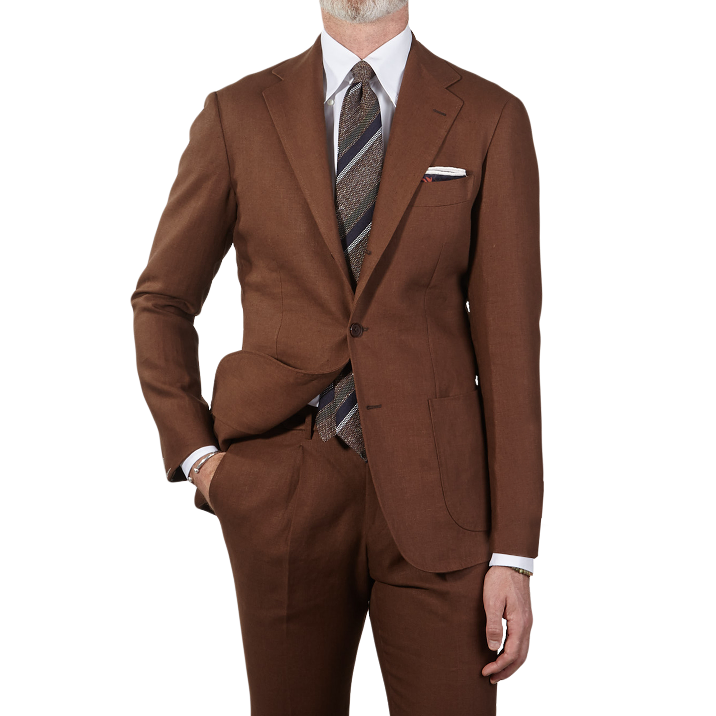 Ring Jacket Irish Linen Tobacco Slimfit Suit Front