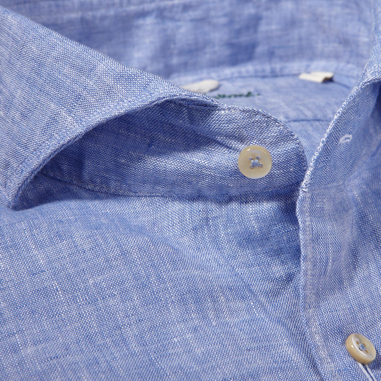Stenströms Light Blue Linen Cut Away Slimline Shirt Collar