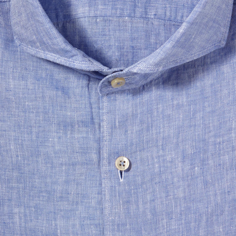 Stenströms Light Blue Linen Cut Away Slimline Shirt Fabric
