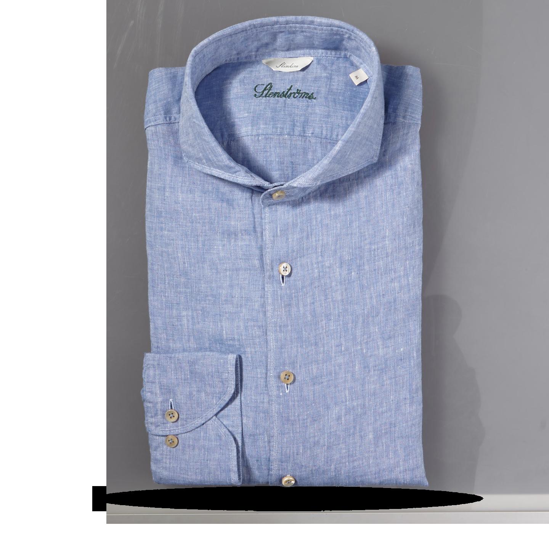 Stenströms Light Blue Linen Cut Away Slimline Shirt Feature