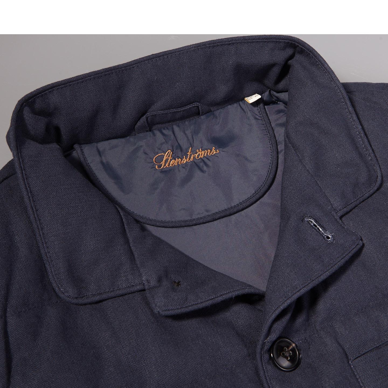 Stenströms Navy Quilted Cotton Linen Gilet Collar