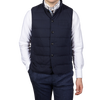 Stenströms Navy Quilted Cotton Linen Gilet Front