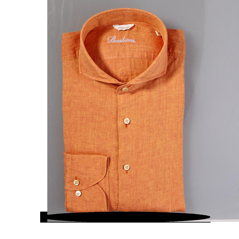 Stenströms Orange Linen Cut Away Fitted Body Shirt