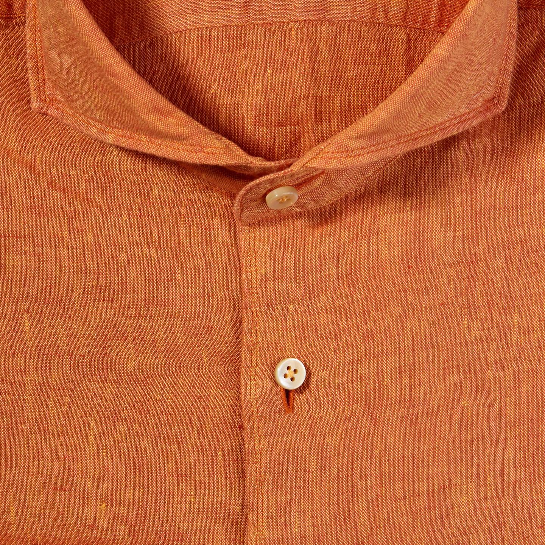 Stenströms Orange Linen Cut Away Slimline Shirt Fabric